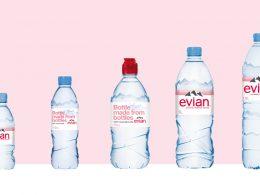 Evian elimina las etiquetas de su botella de plástico 100% reciclado